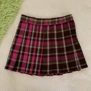 *Girl Place Brown Pink Plaid Pleated Skort Size 14